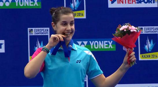 Carolina Marín se da un baño de oro tras ganar el Campeonato de Europa de Bádminton en Kazán