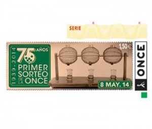 Cupón dedicado al 75 aniversario del primer sorteo de la Once.