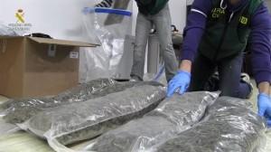 Los fardos de droga localizados.