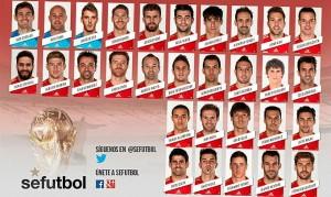 Los 30 futbolistas de la lista de Vicene del Bosque.