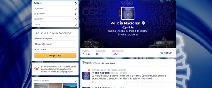 Perfil en Twitter de la Policía Nacional.