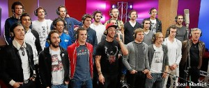 Los madridistas durante la grabación de la canción. / Foto: www.realmadrid.com/