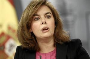 La vicepresidenta del Gobierno, Soraya Sáenz de Santamaría en rueda de prensa.