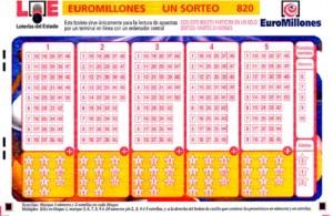 Un boleto del sorteo de Euromillones.