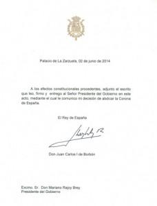 Carta de abdicación de Su Majestad.