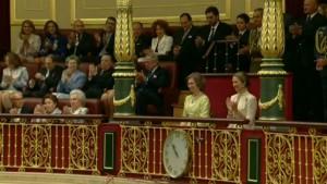 La Reina Sofía, emocionada tras las palabras de gratitud de su hijo.