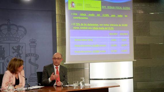 El IRPF bajará un 12,5% de media hasta 2016 y un 23,5% para las rentas inferiores a 24.000 euros