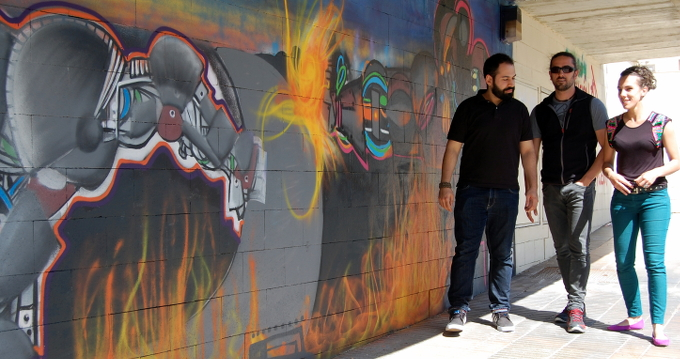 El Festival de Creación Joven de Soria se clausura con el proyecto de pintura mural en el estadio de Los Pajaritos