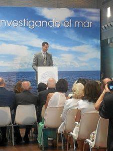 El Príncipe de Asturias durante su intervención.,