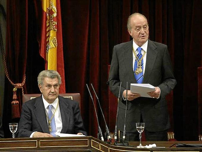 Discurso del Rey durante el acto en las Cortes.