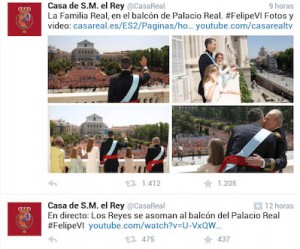 Fotos en la cuenta de Twitter de la Casa Real del día de la proclamación.