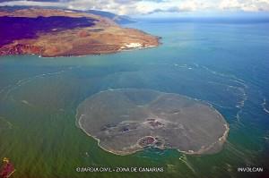 Burbuja submarina tras la erupción del volcán