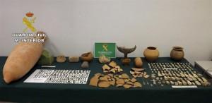 Piezas arqueológicas recuperadas.