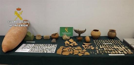 Guardia Civil recupera cerca de 400 piezas arqueológicas de gran valor histórico sustraídas en Caravaca