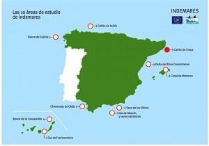El mapa señala las zonas propuesta por el Magrama a la UE. / Foto: Fundación Biodiversidad.