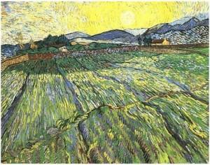 'Campo cercado con labrador' de Van Gogh