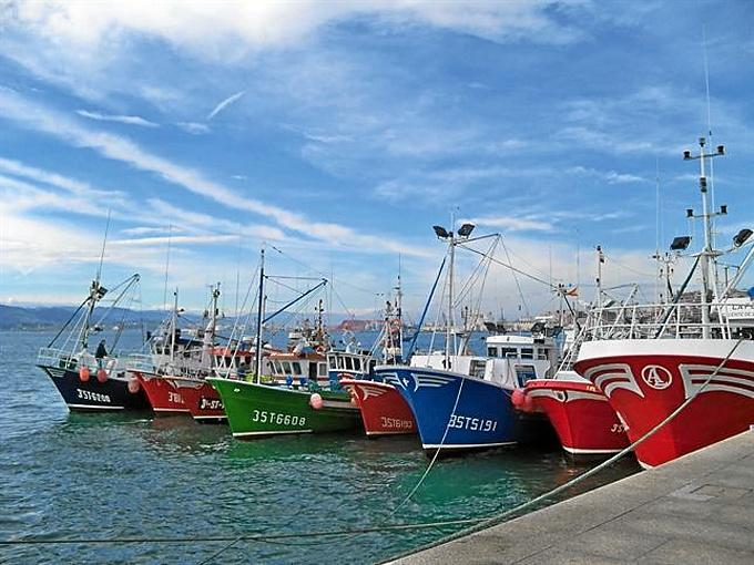 Barcos de arrastre atracados en puerto