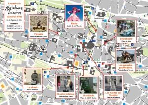 Mapa en el que puede contemplarse dónde se ubicará cada estatua.