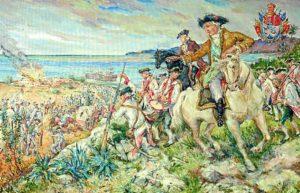 Gálvez en la batalla librada en Pensacola, según el artista Rodrigo Vivar.