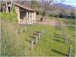 El cementerio consta de una capilla central, alrededor de la cual se encuentran los patios y tumbas.