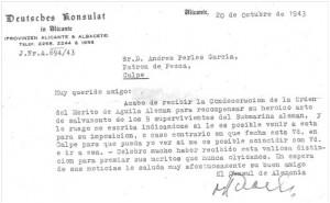 Carta del cónsul alemán a Andrés Perles García, patrón del pesquero.