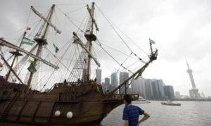 El galeón Andalucía rumbo a Shanghái.