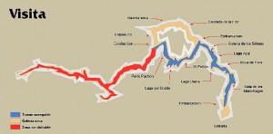Plano del recorrido turístico por las galerías y salas. / Foto: www.riosubterraneo.com