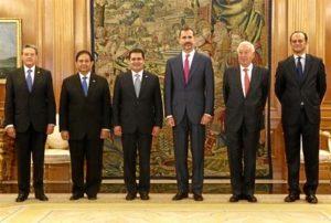 El presidente de Honduras, de visita en España, fue recibido por el Rey. / Foto: Casa Real / Borja Fotógrafos.