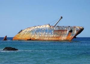 El SS América encallado en Fuerteventura, año 2006. / Foto: wikipedia.