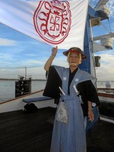 Un samurái en la embarcación que llegó a Coria del Río.