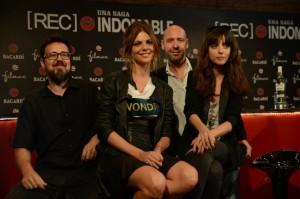 """Paco Plaza, Manuela Velasco, Jaume Balagueró i Leticia Dolera a la inauguració de l'exposició """"REC: Una saga indomable"""" a la Casa Bacardí Sitges. / Foto: www.facebook.com/sitgesfilmfestival"""