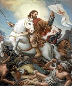 El apóstol Santiago a caballo sobre un caballo blanco. / http://infocatolica.com