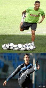 Cristiano Ronaldo realizando un estiramiento estástico y otro dinámico. / Foto: Real Madrid.