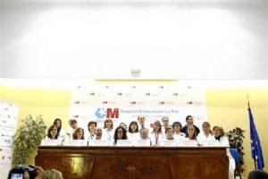 Los sanitarios que atendieron a Teresa Romero, en rueda de prensa. / Foto. Europa Press.