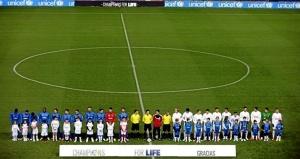 Formación de los equipos antes de disputar el partido