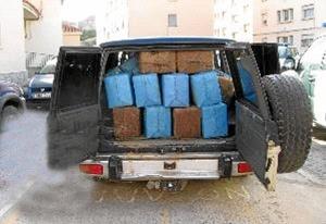 Vehículo interceptado por la Guardia Civil