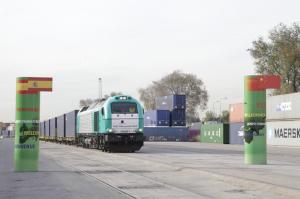 Llegada del primer tren de mercancías China-España. / Foto: M. de Fomento.