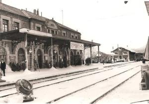 Estación de tren de Soria durante el rodaje.