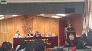 Delgado moderó la ponencia del embajador de Japón en Ecuador.