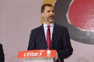 Don Felipe ha pronunciado unas palabras en Fitur. / Foto: Twitter Casa Real.