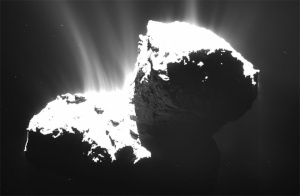 Chorros de polvo emergiendo del núcleo del cometa. / Foto: ESA