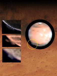 Marte con el penacho emergiendo en el limbo. / National Oceanic and Atmospheric Administration (NOAA)