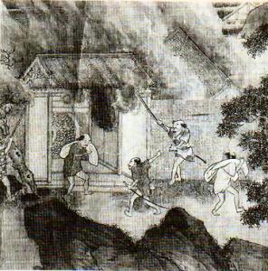 Pintura del siglo XVI que relata los ataques de los piratas japoneses. / http://en.wikipedia.org