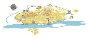 Mapa de las ubicaciones de las puertas de Zaragoza / Foto: cedida por Chusé Bolea y derechos de la Institución Fernando el Católico