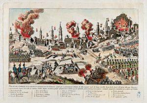 Vista del sitio y bombardeo de la Ciudad de Zaragoza por los franceses. Anónimo, circa 1808, Biblioteca Nacional, Madrid / Foto cedida por Chusé Bolea