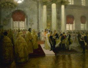 'La boda de Nicolás II', una de las obras que componen la exposición permanente. / Foto: www.coleccionmuseoruso.es