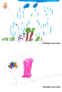 Dibujo a los cuatro y los seis años de edad.