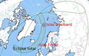 En las islas Feroe y las Svalbard el eclipse será total.