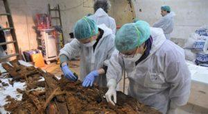 Estudiando los restos encontrados. / Foto: Ayuntamiento de Madrid.