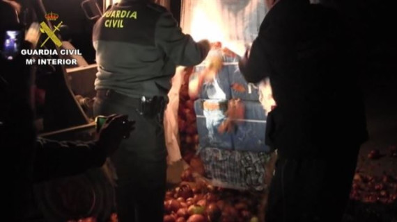 Detenidos siete integrantes de una red que tenía 1.200 kilos de hachís ocultos en toneladas de cebollas